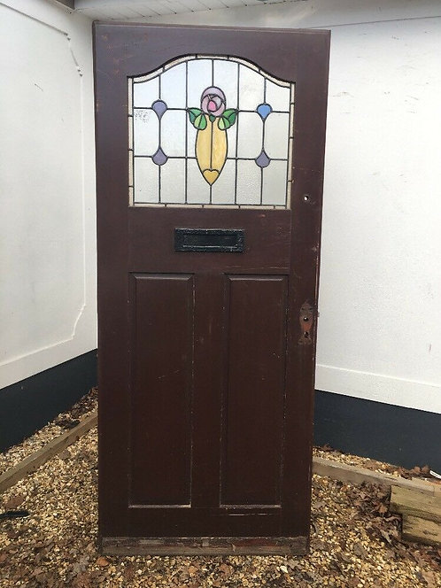 STAINED GLASS FRONT DOOR HARDWOOD RECLAIMED PERIOD OLD EDWARDIAN LEADED £595.00