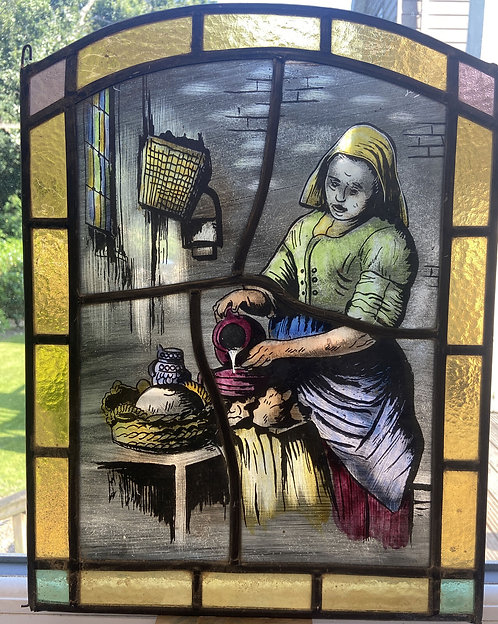 RARE STAINED GLASS WINDOW PANEL HAND PAINTED PERIOD SUN CATCHER RESTORED LEADED