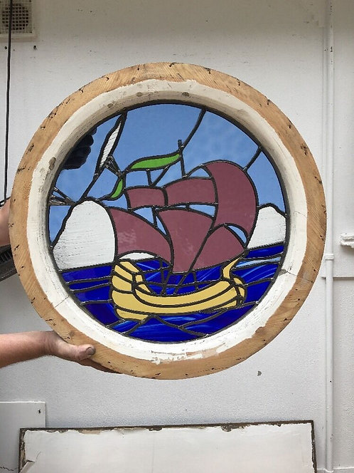 NAUTICAL ROUND PORTHOLE STAINED GLASS WINDOW WOOD PERIOD OLD RECLAIMED LEAD RES