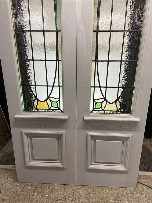 PAIR STAINED GLASS DOORS PERIOD RECLAIMED OLD FRENCH DOUBLE LEAD BESPOKE MADE