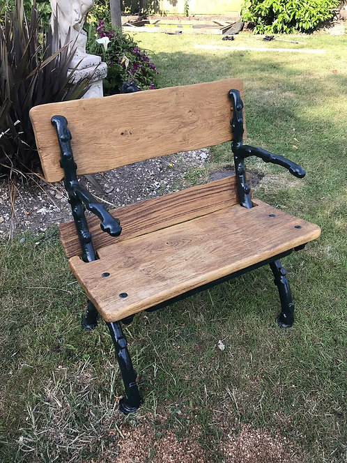 OLD ANTIQUE CAST IRON BENCH PERIOD RECLAIMED SEAT GARDEN PATIO BAR WOOD CHAIR