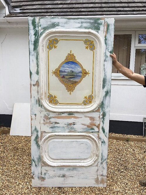 RARE HAND PAINTED GLASS GEORGIAN FRONT DOOR PERIOD OLD RECLAIMED ANTIQUE ETCHED
