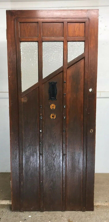LARGE SOLID OAK FRONT DOOR GLAZED WOOD OLD PERIOD ANTIQUE 20s 30s ART DECO IRON