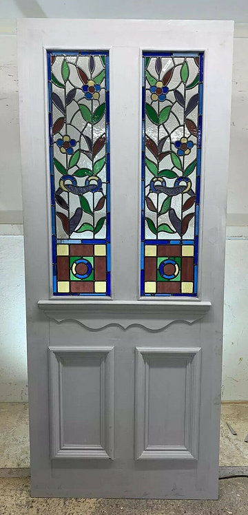 X LARGE ART NOUVEAU STAINED GLASS FRONT DOOR PERIOD OLD RECLAIMED ANTIQUE C1895