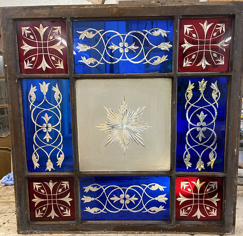 RARE VICTORIAN STAINED GLASS FEATURE WINDOW ANTIQUE CUT GLASS PINE RECLAIMED