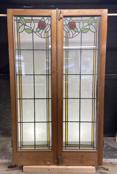DOUBLE EDWARDIAN STAINED GLASS DOORS ANTIQUE PERIOD RECLAIMED OLD FRENCH LEAD