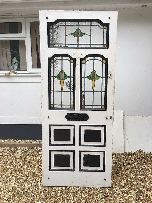 LARGE STAINED GLASS FRONT DOOR WOOD ANTIQUE PERIOD OLD EDWARDIAN 1907 LEADED