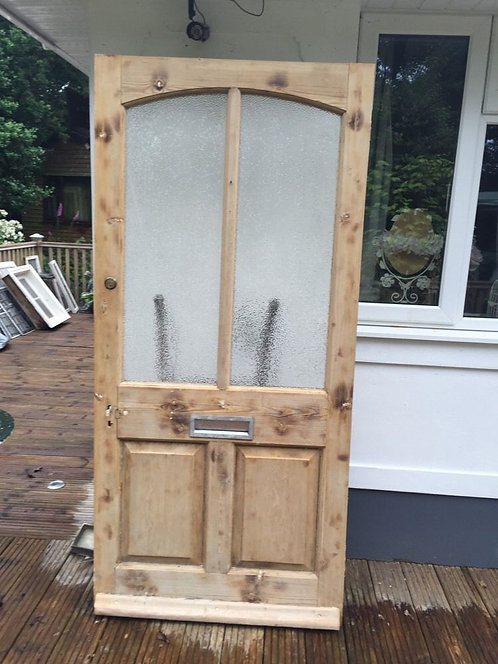 LARGE VICTORIAN EDWARDIAN FRONT DOOR WOOD RECLAIMED PERIOD OLD ANTIQUE GLAZED
