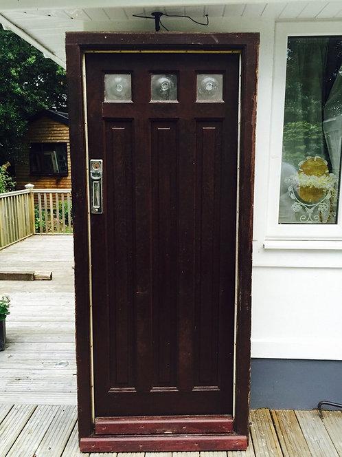 LARGE SOLID OAK FRONT DOOR OLD RECLAIMED WOOD ANTIQUE FRAME GLAZED 1920s 1930s