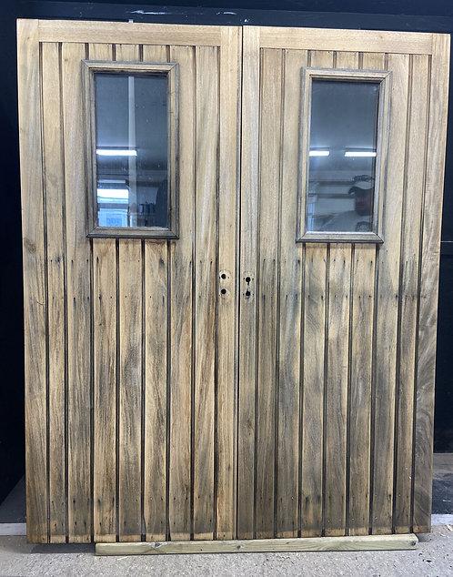 DOUBLE FRONT DOORS SET PERIOD RECLAIMED BESPOKE JOINER IROKO HARDWOOD GLAZED