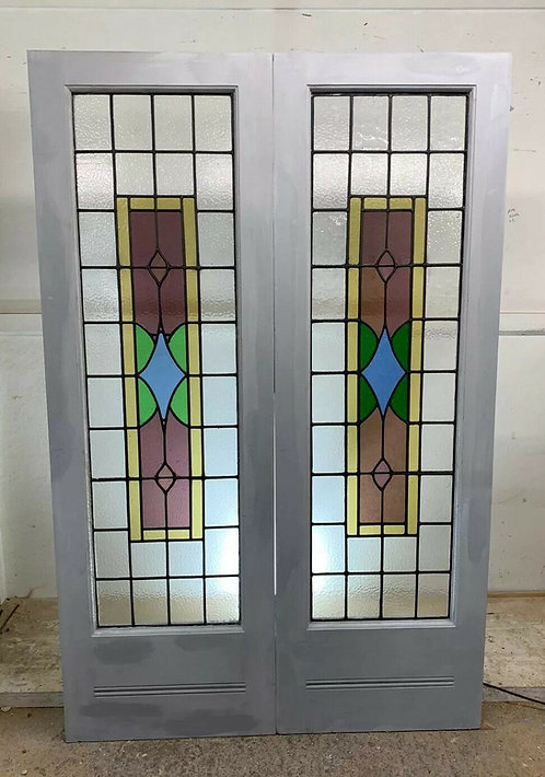 PAIR ART DECO STAINED GLASS DOORS ANTIQUE PERIOD RECLAIMED OLD FRENCH WOOD LEAD