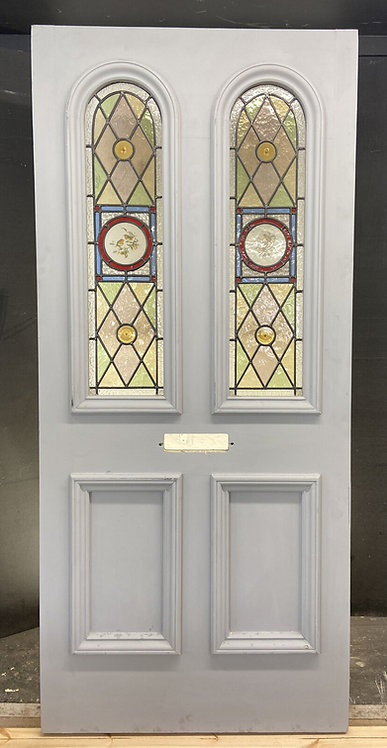 GRAND LARGE VICTORIAN STAINED GLASS FRONT DOOR OLD RECLAIMED ANTIQUE PERIOD LEAD