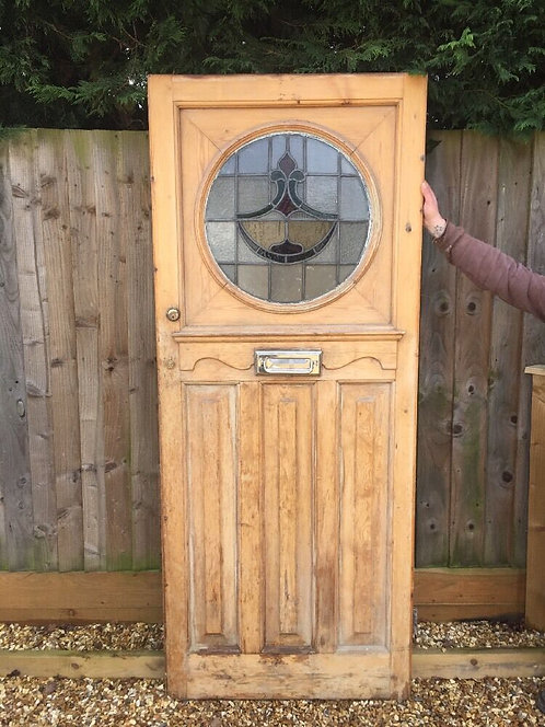 1930s FRONT DOOR RECLAIMED WOOD LEADED STAINED GLASS DECO PERIOD OLD WW2 DAMAGED