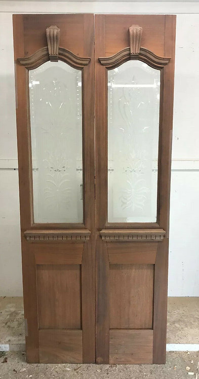 ANTIQUE FRENCH DOORS PERIOD RECLAIMED CUT GLASS HARDWOOD CARVED VESTIBULE PORCH