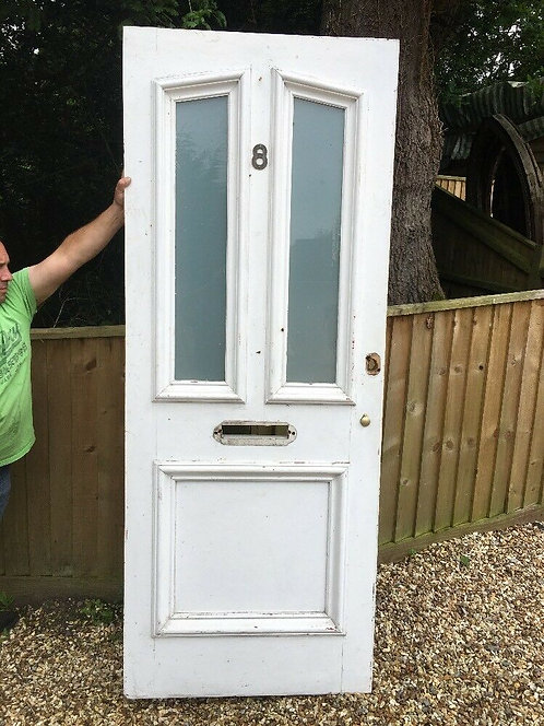 TALL VICTORIAN E EDWARDIAN FRONT DOOR RECLAIMED OLD PERIOD ANTIQUE GLAZED WOOD