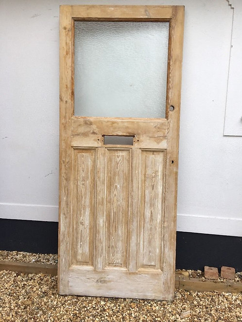 LARGE VICTORIAN EDWARDIAN FRONT DOOR OLD PERIOD RECLAIMED PINE WOOD ANTIQUE