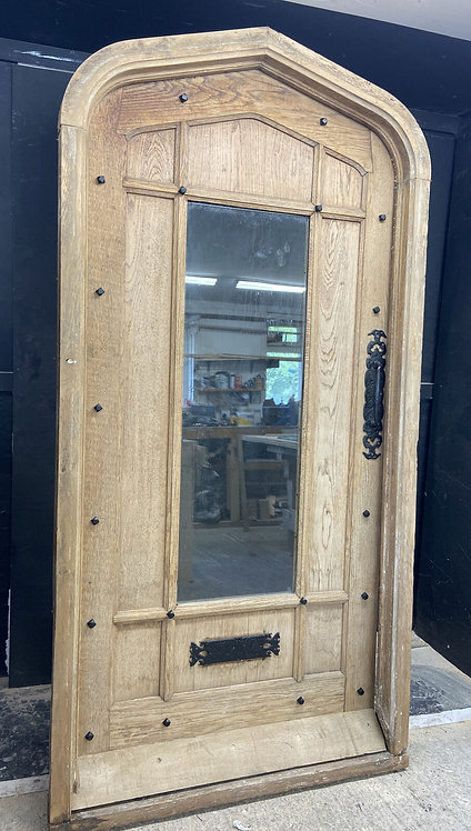 X LARGE SOLID OAK FRONT DOOR OLD PERIOD WOOD ANTIQUE RECLAIMED FRAME TUDOR ARCH