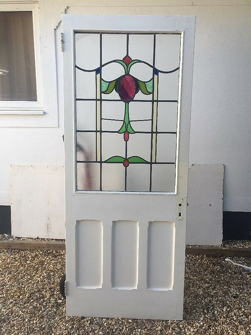 VICTORIAN STAINED GLASS FRONT DOOR RECLAIMED PERIOD OLD ANTIQUE LEAD ARTS CRAFTS