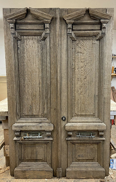 SOLID OAK FRONT DOOR SET ANTIQUE PERIOD RECLAIMED OLD DOUBLE NEO CLASSICAL WOOD