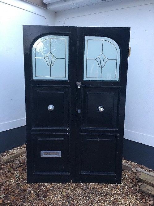 VICTORIAN ART NOUVEAU FRONT DOORS SET RECLAIMED OLD PERIOD ANTIQUE GLAZED WOOD