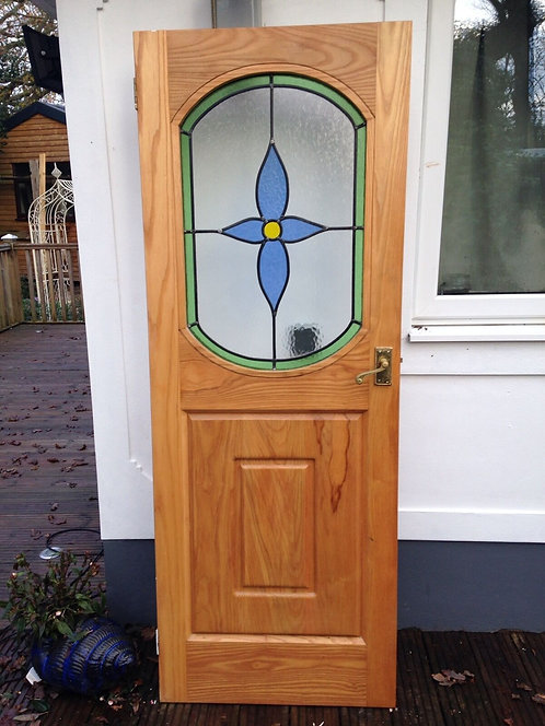 SOLID OAK STAINED GLASS DOORS JOINER BESPOKE INTERNAL WOOD PERIOD RECLAIMED