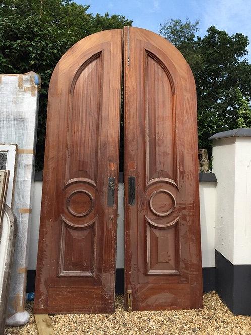 HUGE MANOR BANK MANSION FRONT DOOR SET ANTIQUE PERIOD RECLAIMED OLD ARCHED