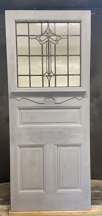 20s 30s STAINED GLASS FRONT DOOR PERIOD RECLAIMED WOOD ANTIQUE LEAD PINE WOOD