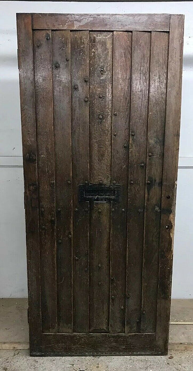 SOLID OAK FRONT DOOR ANTIQUE OLD PERIOD WOOD CAST IRON RECLAIMED WOOD COTTAGE
