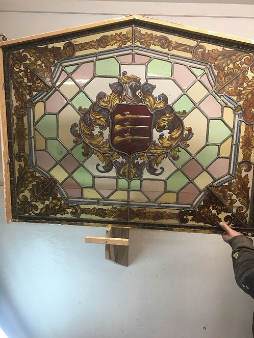 UNIQUE STAINED GLASS HAND PAINTED WINDOW PANEL OLD PERIOD ANTIQUE MUSKETEERS