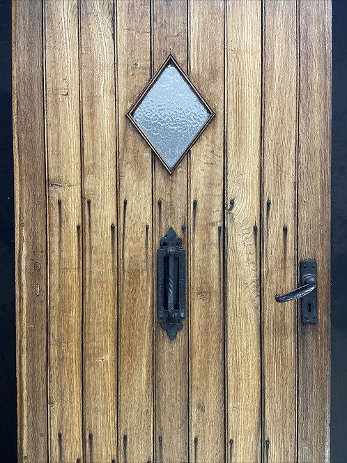 SOLID OAK FRONT DOOR OLD PERIOD WOOD ANTIQUE RECLAIMED HARDWOOD ARTS & CRAFTS