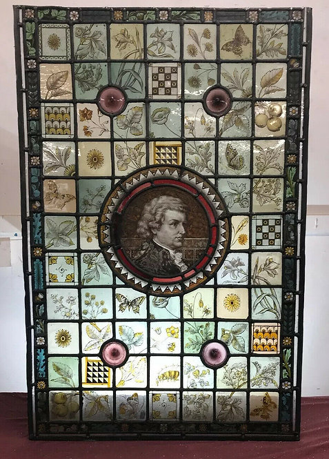 LARGE STAINED GLASS WINDOW PANEL HAND PAINTED MOZART COMPOSER C1800 STAINED GLAS