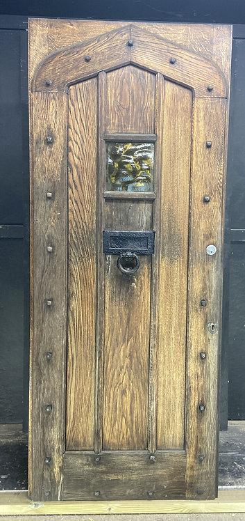 LARGE SOLID OAK FRONT DOOR OLD PERIOD WOOD ANTIQUE RECLAIMED HARDWOOD GLAZED
