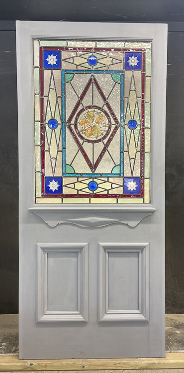 LARGE VICTORIAN STAINED GLASS FRONT DOOR RECLAIMED ANTIQUE PERIOD C1880 LEADED