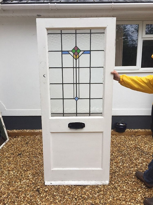 EDWARDIAN FRONT DOOR RECLAIMED DECO PERIOD OLD ANTIQUE PERIOD STAINED GLASS