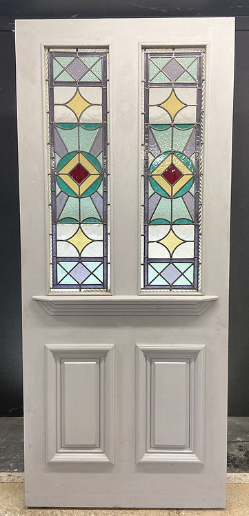 LARGE VICTORIAN STAINED GLASS FRONT DOOR PERIOD OLD RECLAIMED ANTIQUE WOOD LEAD