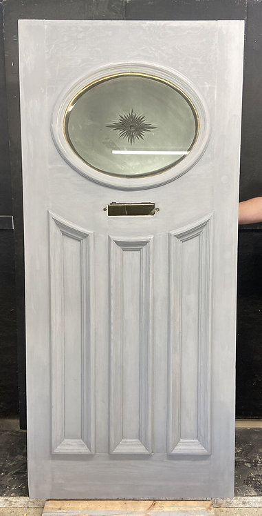 ART DECO STAINED ETCHED CUT GLASS FRONT DOOR ANTIQUE PERIOD RECLAIMED 20s 30S
