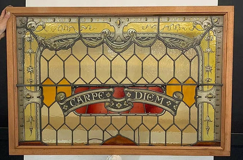 OLD LARGE STAINED GLASS WINDOW PANEL HAND PAINTED PERIOD ANTIQUE UNIQUE 1800s