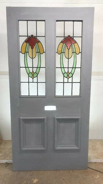 XL VICTORIAN STAINED GLASS FRONT DOOR RECLAIMED OLD PERIOD ANTIQUE ART NOUVEAU
