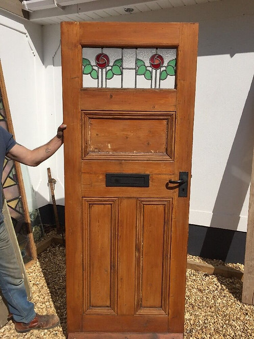 STAINED GLASS VICTORIAN EDW FRONT DOOR PERIOD OLD RECLAIMED ANTIQUE LEADED C1900