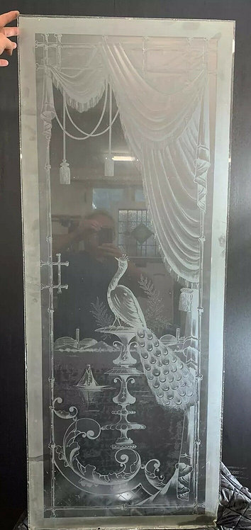 EXQUISITE VICTORIAN ACID ETCHED GLASS PANEL OLD PERIOD RECLAIMED PEACOCK RARE