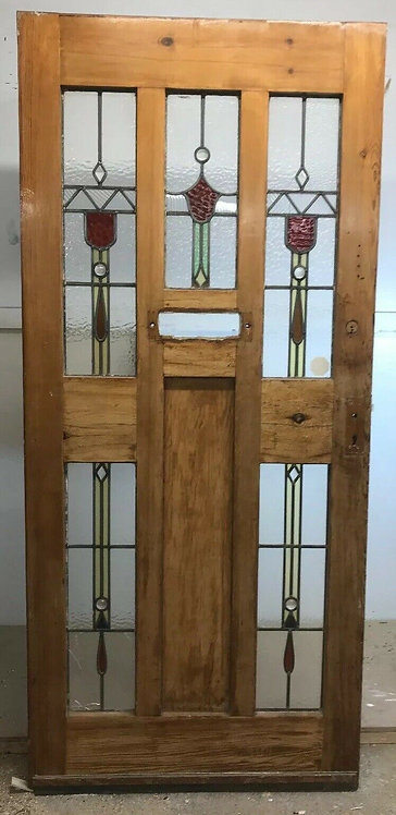 WIDE 20 30s ART DECO FRONT DOOR RECLAIMED WOOD LEADED STAINED GLASS PERIOD OLD