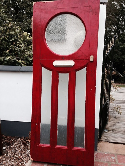 1930s FRONT DOOR ART DECO GLAZED RECLAIMED PERIOD ANTIQUE SOLID WOODEN OLD RARE