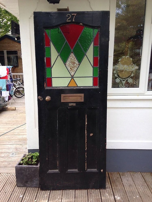 EDWARDIAN FRONT DOOR WOODEN RECLAIMED TIMBER OLD PERIOD STAINED GLASS LEADED