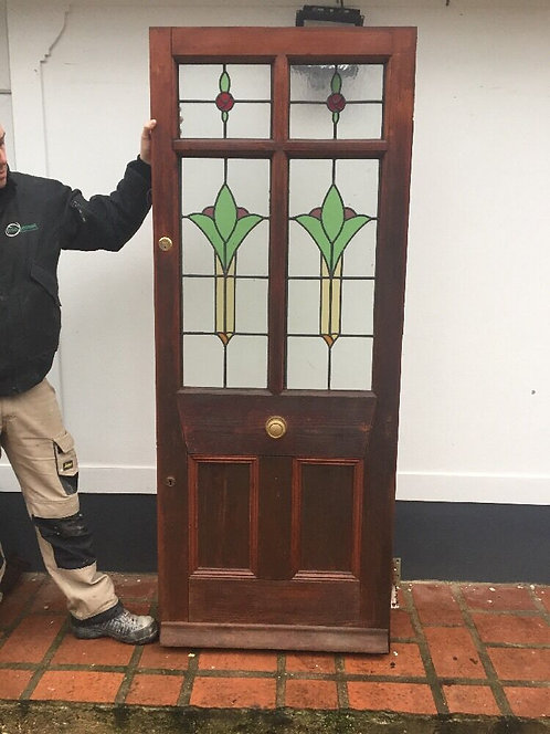 STAINED GLASS FRONT DOOR WOOD EDWARDIAN ANTIQUE PERIOD DECO LEADED RECLAIM PINE