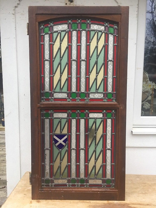 STAINED GLASS FRONT DOOR SIDE PANEL ART DECO PERIOD WINDOW RECLAIMED LEADED OLD