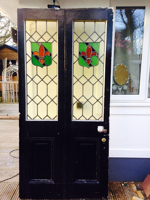 VERY LARGE VICTORIAN STAINED GLASS FRONT DOOR WOOD RECLAIMED OLD PERIOD ANTIQUE