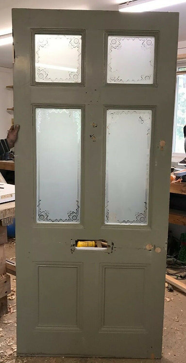 XL VICTORIAN ETCHED GLASS FRONT DOOR RECLAIMED OLD PERIOD ANTIQUE WOOD PINE