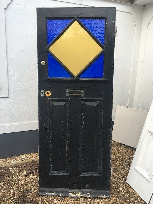 EARLY ART DECO STAINED GLASS FRONT DOOR WOOD OLD RECLAIMED PERIOD 10s 20s RARE.