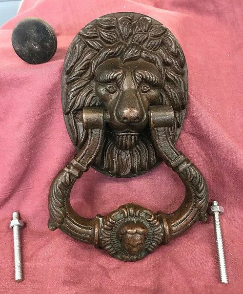 GRAND LARGE ANTIQUE BRASS DOOR KNOCKER REGENCY VICTORIAN C1820 PERIOD RECLAIM