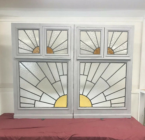 PAIR LARGE ART DECO STAINED GLASS WINDOWS ANTIQUE PERIOD LEAD OLD RECLAIMED WOOD